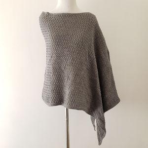 J. Jill Poncho Asymmetrical Cable Knit sweater OS